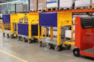 Custom-built wheel head trolley (automotive industry)